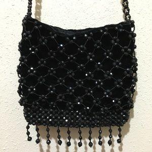 Handbags - Black velvet and ornate beaded evening bag